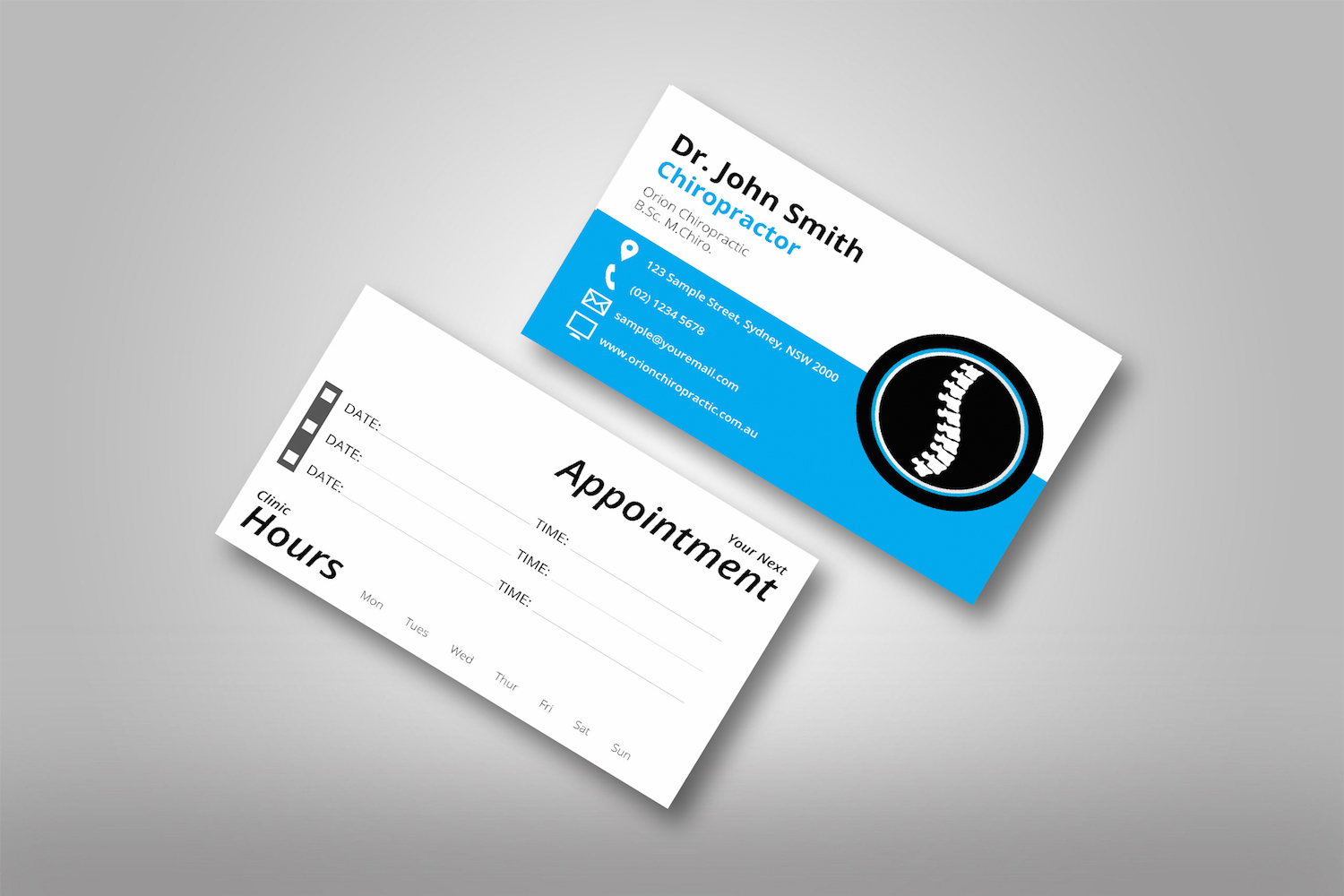 Classic chiropractic business cards 2 orion marketing chiropractic business cards back orion marketing double sided classic 2 reheart Choice Image